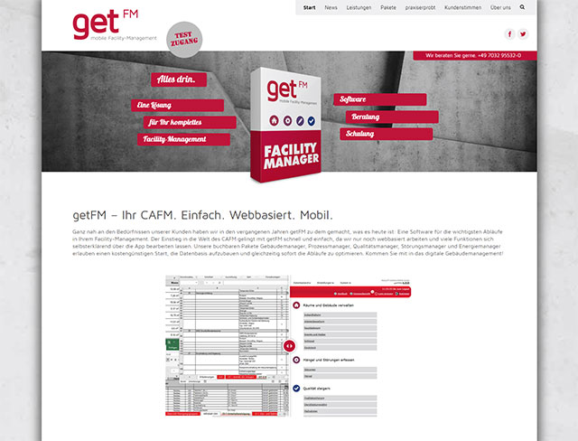 Screenshot der getFM-Homepage